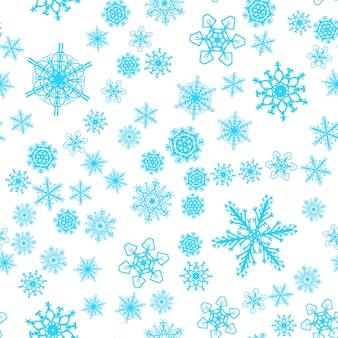 Nahtloses muster des weihnachtsschnees mit schönen schneeflocken