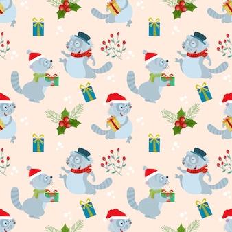 Nahtloses muster des weihnachtswaschbären und -geschenks.