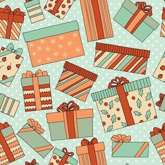 Nahtloses muster des weinlese-weihnachts- oder geburtstags mit geschenkboxen.