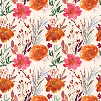 Nahtloses muster des weinleseblumen-aquarells