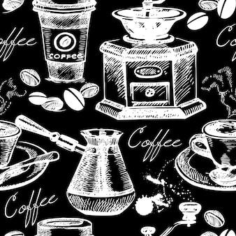 Nahtloses muster des weinlesekaffees. handgezeichnete vektorillustration