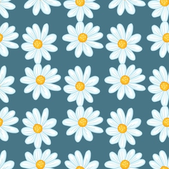 Nahtloses muster des weinlesesommers mit netter gänseblümchen-blumenverzierung. marineblauer heller hintergrund. bloom-hintergrund. abbildung auf lager. vektordesign für textilien, stoffe, geschenkpapier, tapeten.