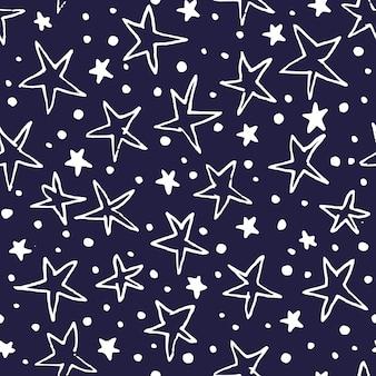 Nahtloses muster des weinlesevektors mit sternen. handgezeichneter hintergrund