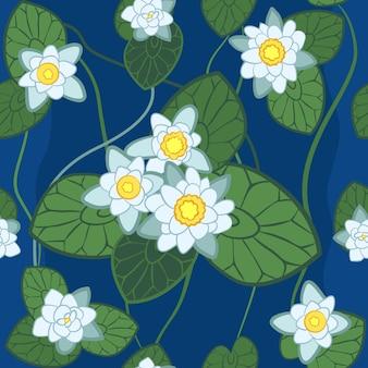 Nahtloses muster des weißen lotus auf dem hintergrund auf dem hintergrund der grünen blätter und des blauen wassers