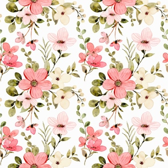 Nahtloses muster des weißen rosa blumenaquarells