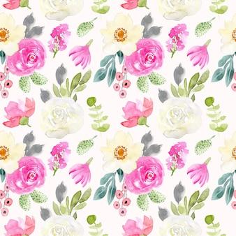 Nahtloses muster des weißen rosa grünen blumenaquarells