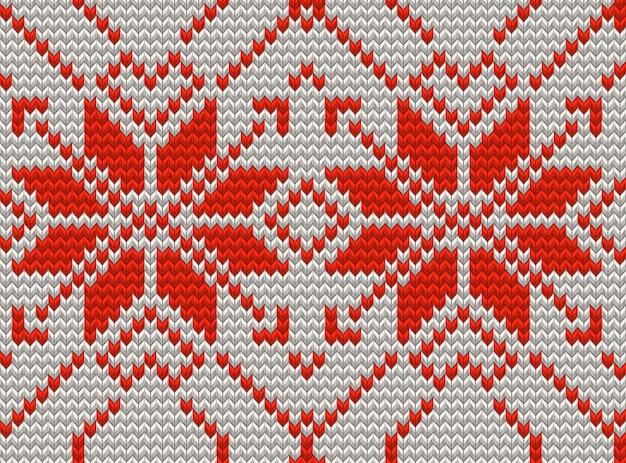 Nahtloses muster des weißen und roten feiertags mit gesticktem neujahrsornament des kreuzstichs. weihnachtsschablone endlos für paket, websites, textil. und beinhaltet auch