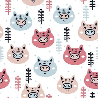 Nahtloses muster des winters mit schweinen