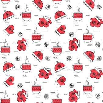 Nahtloses muster des winters mit tasse tee, handschuhen und hut in der linie kunstart.