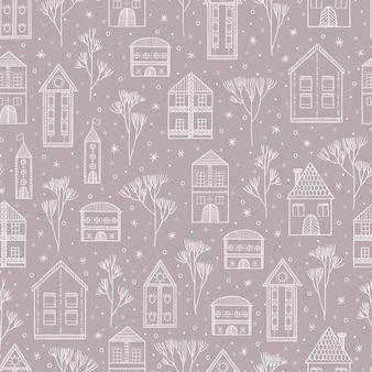 Nahtloses muster des winterschneestadtbilds mit häusern und bäumen.