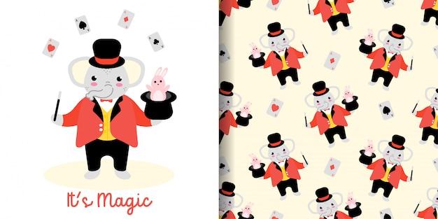 Nahtloses muster des zaubererelefanten mit illustrationskarikatur-babypartykarte