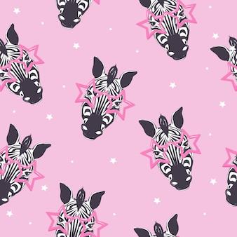 Nahtloses muster des zebras, kindersafari-druck