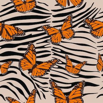 Nahtloses muster des zebras. tierdruck mit schmetterlingen.