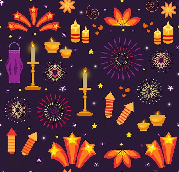 Nahtloses muster diwali, indien-feiertagslichter