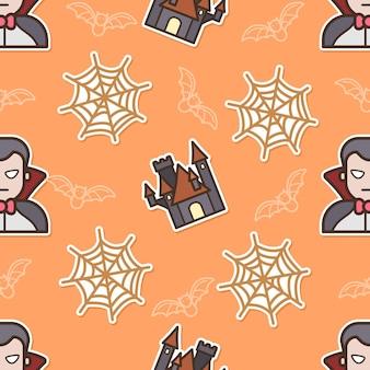 Nahtloses muster dracula am halloween-tag