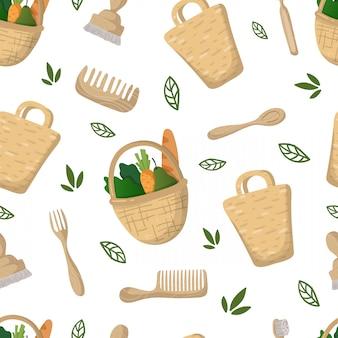 Nahtloses muster - eco bambusbeutel, nahrungsmittelkorb