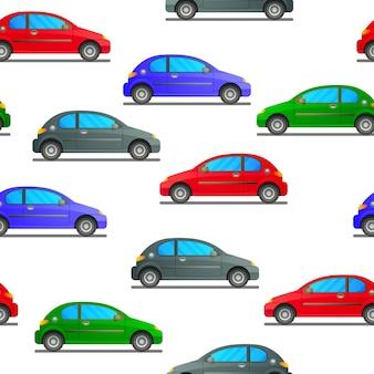 Nahtloses muster eines autos in verschiedenen farben auf einem weißen hintergrund