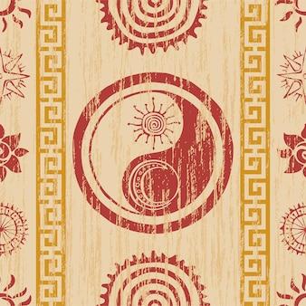 Nahtloses muster, ethnischer hintergrund, sonne und yin-yang-symbole, vektordesign