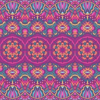 Nahtloses muster. ethnischer stammes- geometrischer psychedelischer bunter druck mit blumen und mandalas.