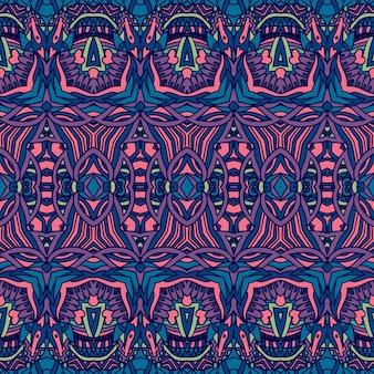 Nahtloses muster ethnischer stammes geometrischer psychedelischer