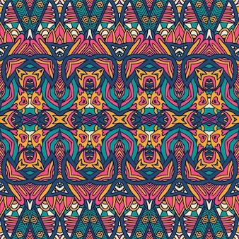 Nahtloses muster ethnischer stammes geometrisches psychedelisches buntes muster