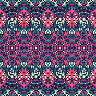Nahtloses muster ethnischer stammesblumen psychedelisch