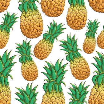 Nahtloses muster farbige exotische ananas auf weißem hintergrund