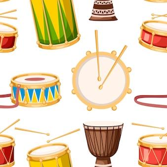 Nahtloses muster. farbige trommeln mit drumsticks icon set.