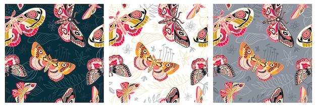 Nahtloses muster fliegende nachtmotten, schmetterlinge. farbschmetterling, motte, blumenelemente, hand gezeichnet.