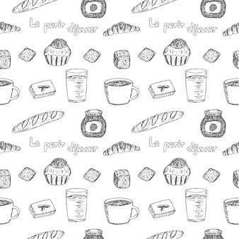 Nahtloses muster französisches frühstück set vektor-illustration croissant brioche baguette brot kaffee saft marmelade handzeichnung