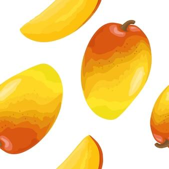 Nahtloses muster frische ganze und in scheiben geschnittene mango vector flache illustration der farbe für menü und etikett