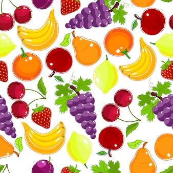 Nahtloses muster frischer früchte und beeren in den farben des regenbogens mit trauben