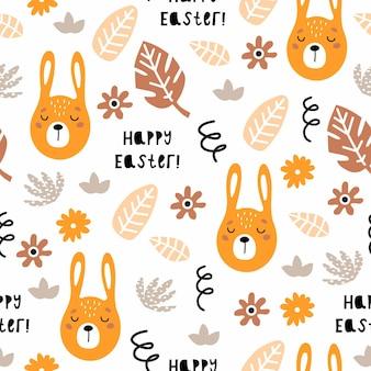 Nahtloses muster frohe ostern mit verzierten gemalten ostereiern und kaninchen