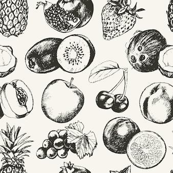 Nahtloses muster früchte-vektor moderne hand gezeichnetes nahtloses muster des designs. trauben, kirschen, ananas, erdbeere, kokosnüsse, apfel.