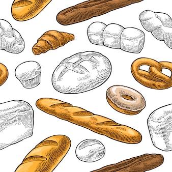 Nahtloses muster für bäckerei. schwarze handgezeichnete vintage gravur