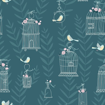 Nahtloses muster für dekorative vogelkäfige, verziert mit blumen. vögel sitzen und fliegen. handgezeichneter stil