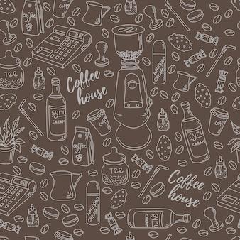 Nahtloses muster für den druck auf papier oder stoff. coffeeshop-motive.