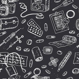 Nahtloses muster für gesundheitswesen und medizin. skizzen. handzeichnung.