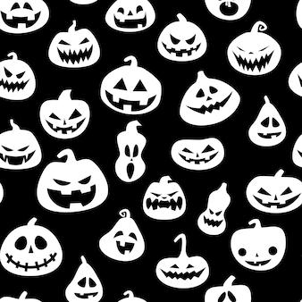 Nahtloses muster für halloween mit kürbisen
