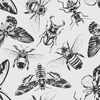 Nahtloses muster für insekten Premium Vektoren