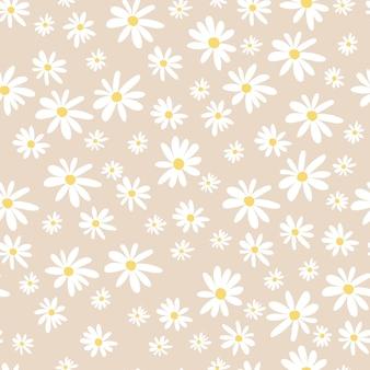 Nahtloses muster für kinder mit kamillen der weißen blumen. süße textur für kinderzimmerdesign, tapeten, textilien, geschenkpapier, kleidung. vektor-illustration