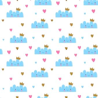 Nahtloses muster für kinder und baby. niedliche wolke der kindertagesstätte mit glitzerkrone und -herzen. blaue, rosa und gelbe farben.