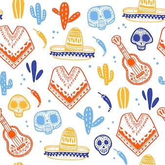 Nahtloses muster für traditionelle mexikanische feier - dia de los muertos - mit schädel, poncho, kakteen, gitarre, sombrero lokalisiert auf weißem hintergrund. gut für verpackungsdesign, druck, dekor, web