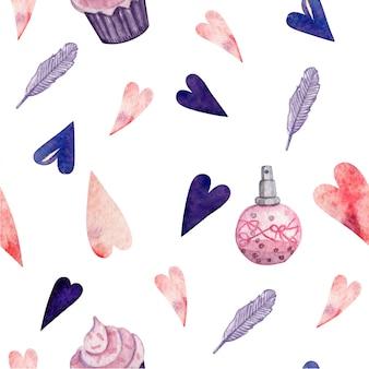 Nahtloses muster für valentinsgrußtag für papier- und gewebeprodukte
