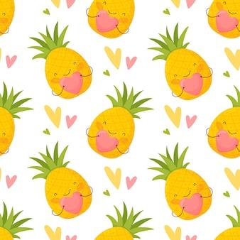 Nahtloses muster für valentinstag. nette karikaturananas und bunte herzen.