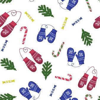 Nahtloses muster für weihnachten und neujahr. warme gehäkelte winterhandschuhe und verschiedene süßigkeiten.