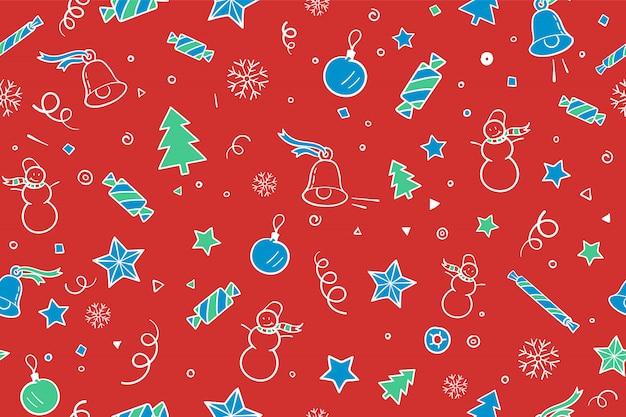 Nahtloses muster für weihnachts- und guten rutsch ins neue jahr-thema