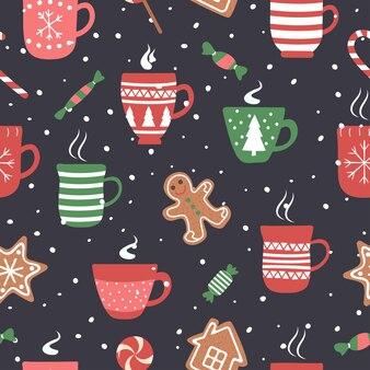 Nahtloses muster für weihnachtsfeiertage mit kakaoschokoladenschale.