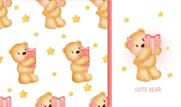 Nahtloses muster-geburtstagsgrußkarte mit niedlichem teddybär, der eine geschenkbox hält.