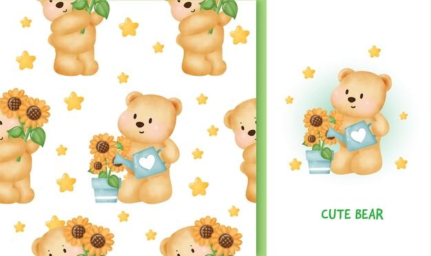Nahtloses muster-geburtstagsgrußkarte mit niedlichem teddybär, der eine sonnenblume hält.
